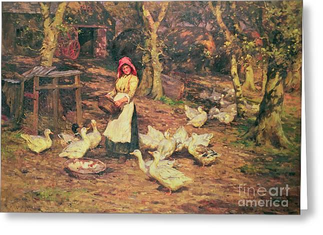 Bonnet Greeting Cards - Feeding the Ducks Greeting Card by Joseph Harold Swanwick