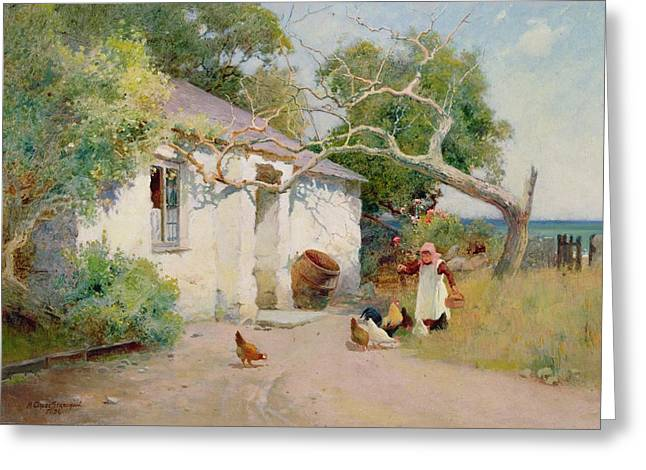 Peck Greeting Cards - Feeding the Hens Greeting Card by Arthur Claude Strachan