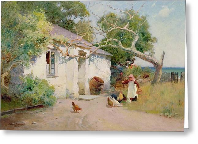 Arthur Strachan Greeting Cards - Feeding the Hens Greeting Card by Arthur Claude Strachan