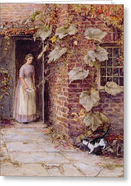 Doorway Greeting Cards - Feeding the Kitten Greeting Card by Helen Allingham