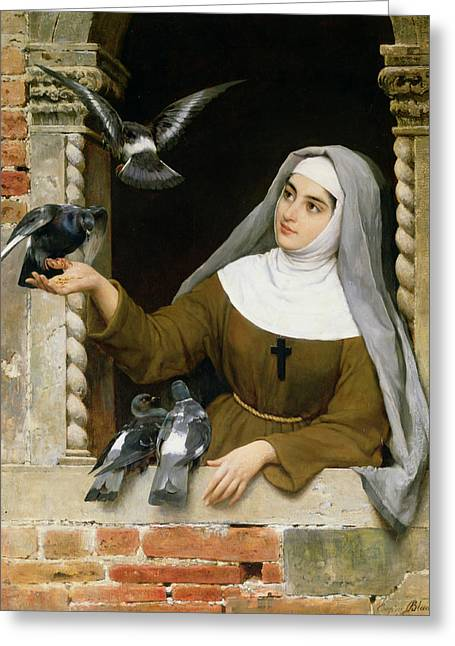 Pigeons Greeting Cards - Feeding the Pigeons Greeting Card by Eugen von Blaas