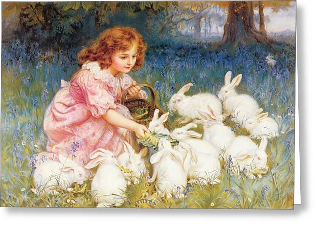 White Dress Paintings Greeting Cards - Feeding the Rabbits Greeting Card by Frederick Morgan