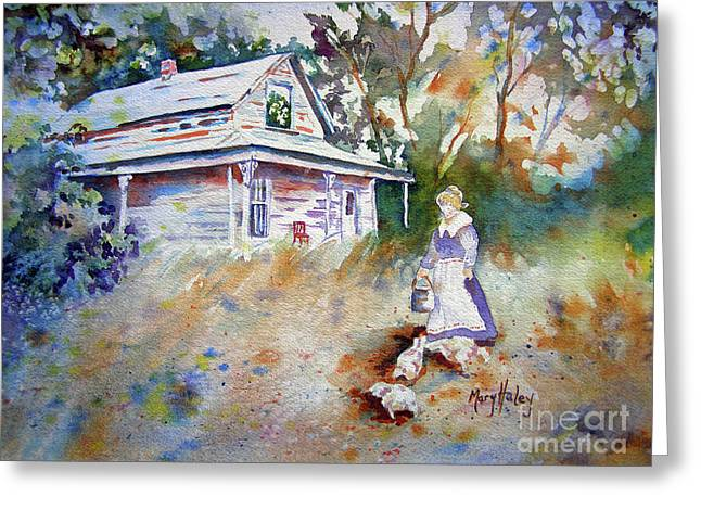 Shed Drawings Greeting Cards - Feeding Time Greeting Card by Mary Haley-Rocks