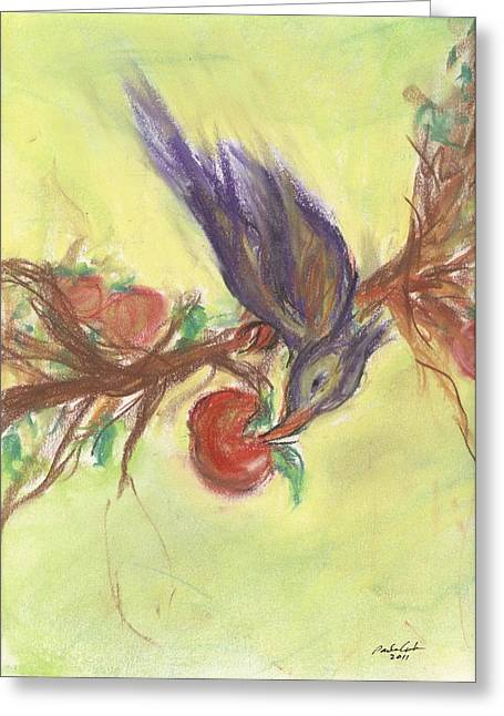 Spring Pastels Greeting Cards - Feeding Time Greeting Card by Paula Cork