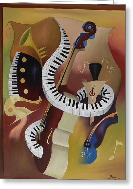 Cubism Art Greeting Cards - Feelin The Funk Greeting Card by Brien Cole