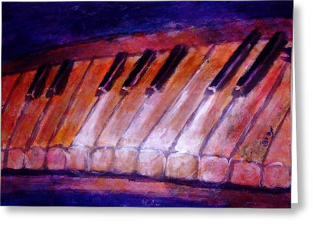 White Chopin Greeting Cards - Feeling the Blues on Piano in Magenta Orange Red in D Major with Black and White Keys of Music Greeting Card by M Zimmerman MendyZ