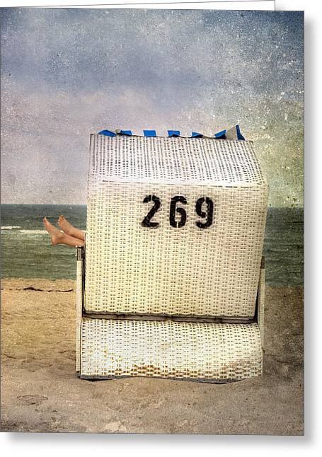Shoeless Greeting Cards - Feet And Beach Chair Greeting Card by Joana Kruse