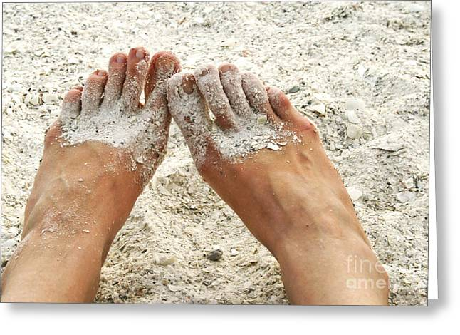 Coarse Greeting Cards - Feet in sand Greeting Card by Blink Images