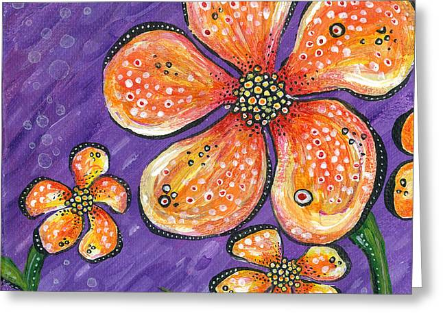 Bubbly Paintings Greeting Cards - Feisty Greeting Card by Tanielle Childers