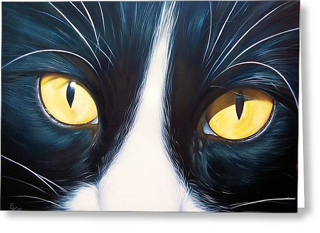 Cat Portraits Greeting Cards - Feline face 2 Greeting Card by Elena Kolotusha