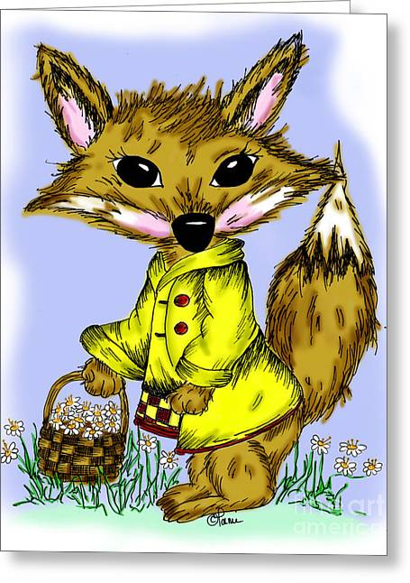 Storybook Drawings Greeting Cards - Felix Fox Greeting Card by Tammy Talerico