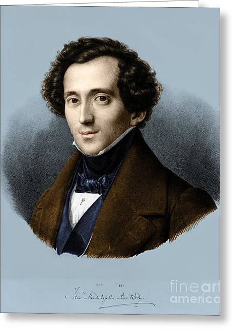 Concerto Greeting Cards - Felix Mendelssohn, German Composer Greeting Card by Omikron