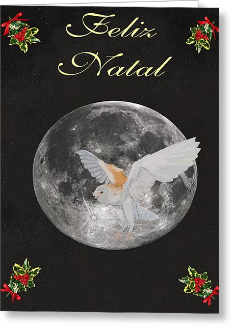 Acroplolis Greeting Cards - Felix Natal Barn Owl Portuguese Merry Christmas Greeting Card by Eric Kempson