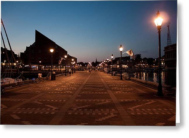 City Pier Greeting Cards - Fells Point Lights Greeting Card by Elizabeth Richardson