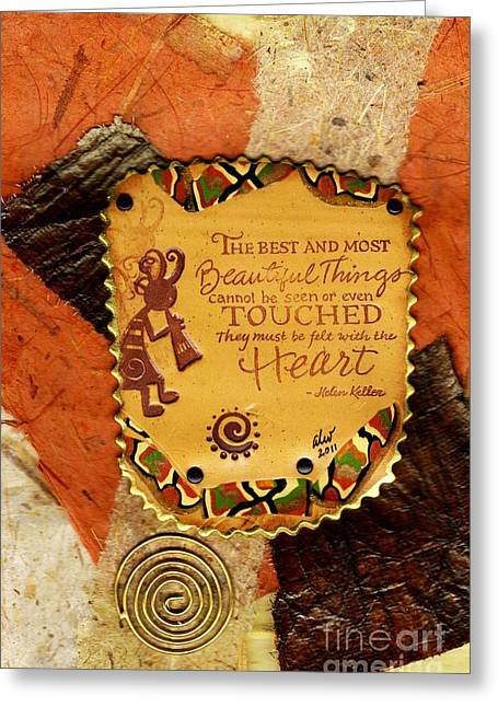 Polymer Clay Greeting Cards - Felt with the Heart Greeting Card by Angela L Walker