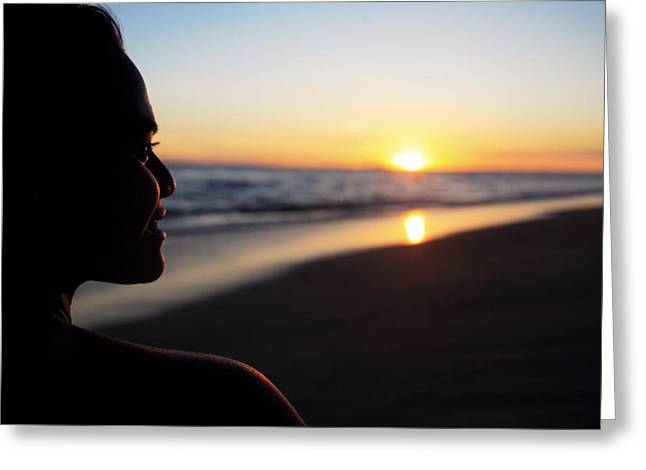 Amazing Sunset Greeting Cards - Female at Sunset Greeting Card by Brandon Tabiolo - Printscapes