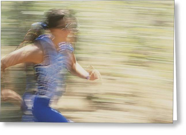 By Humans Greeting Cards - Female Athlete Running Greeting Card by Dugald Bremner Studio