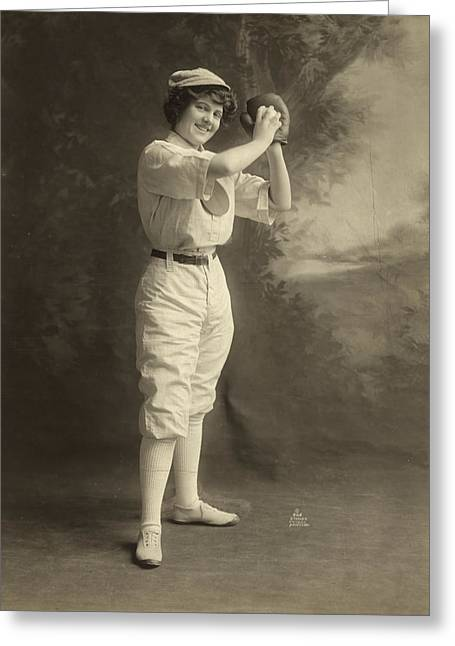 Female Baseball Player Greeting Card by Granger