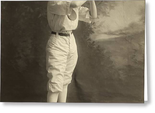 FEMALE BASEBALL PLAYER Greeting Card by Granger