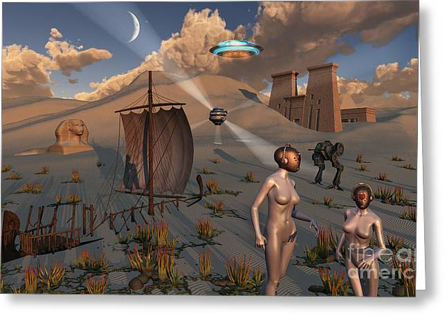 Sailboat Images Digital Greeting Cards - Female Explorers Study Ancient Egyptian Greeting Card by Mark Stevenson