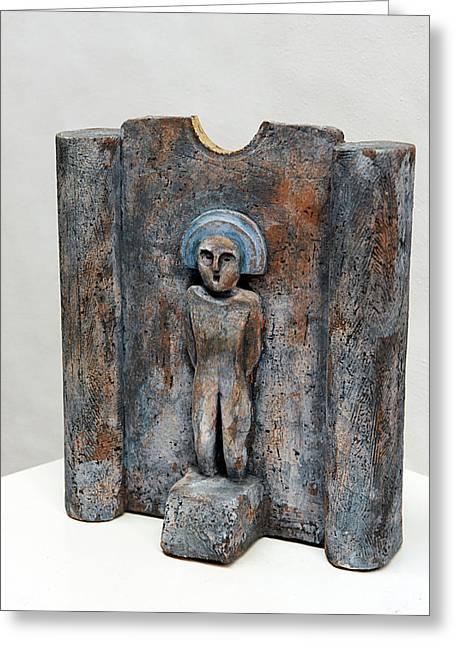 Stone Ceramics Greeting Cards - Female Figurine - Goddess Worship - Matrone - Matrones -Matronen - Matrona - Diosa-Nettersheim Eifel Greeting Card by Urft Valley Art