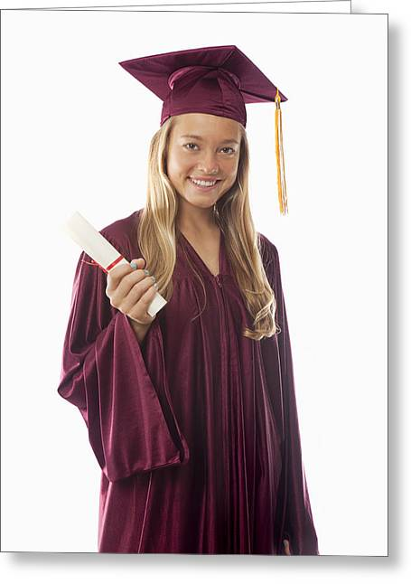 Graduated Background Greeting Cards - Female Graduate II Greeting Card by Tomas del Amo