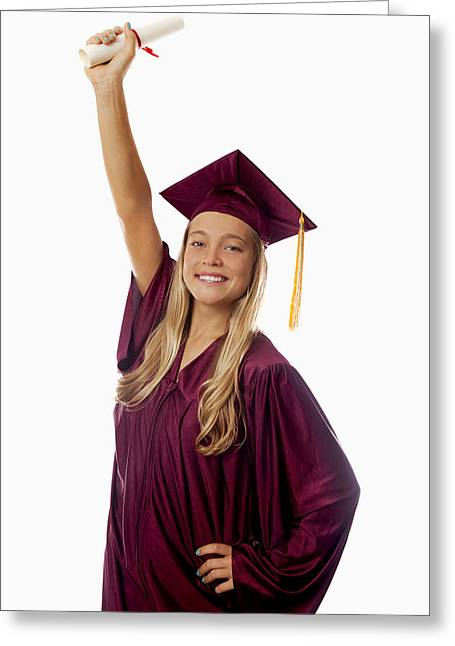 Graduated Background Greeting Cards - Female Graduate Greeting Card by Tomas del Amo