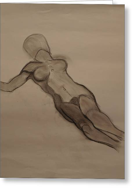 Figure Drawing Greeting Cards - Female Nude Drawing Greeting Card by Teri Schuster