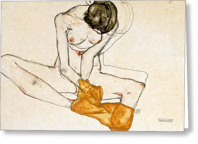 Odalisque Greeting Cards - Female Nude Greeting Card by Egon Schiele