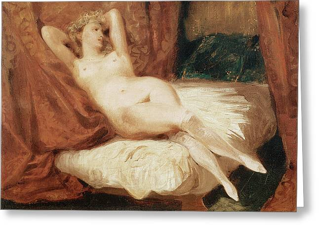 Divan Greeting Cards - Female Nude Reclining on a Divan Greeting Card by Eugene Delacroix