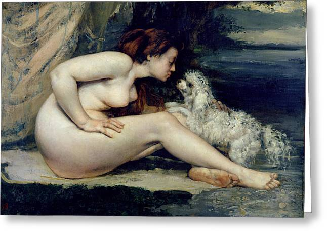 A Kiss Greeting Cards - Female Nude with a Dog Greeting Card by Gustave Courbet