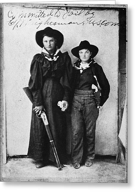 Britches Greeting Cards - Female Outlaws Greeting Card by Granger