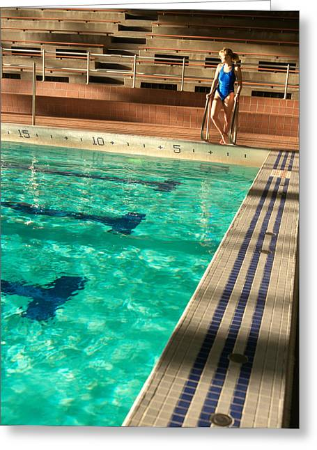 Swimmers Greeting Cards - Female Swimmer at Poolside Greeting Card by Utah Images