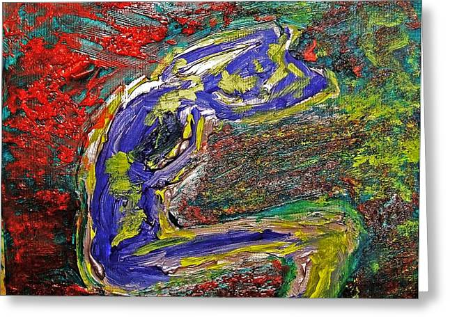 Hair-washing Paintings Greeting Cards - Female Washing Hair with Bold Primary Colors Textures and Expressionism  Greeting Card by MendyZ M Zimmerman