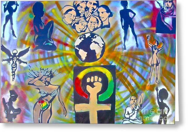 Slavery Paintings Greeting Cards - Feminism 101 Greeting Card by Tony B Conscious