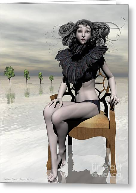 Chaise Digital Art Greeting Cards - Femme Avec Chaise Greeting Card by Sandra Bauser Digital Art