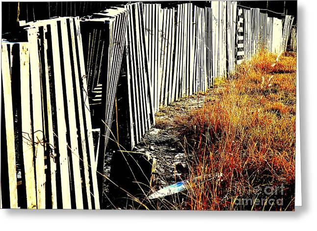 Fence Row Greeting Cards - Fence Abstract Greeting Card by Joe Jake Pratt