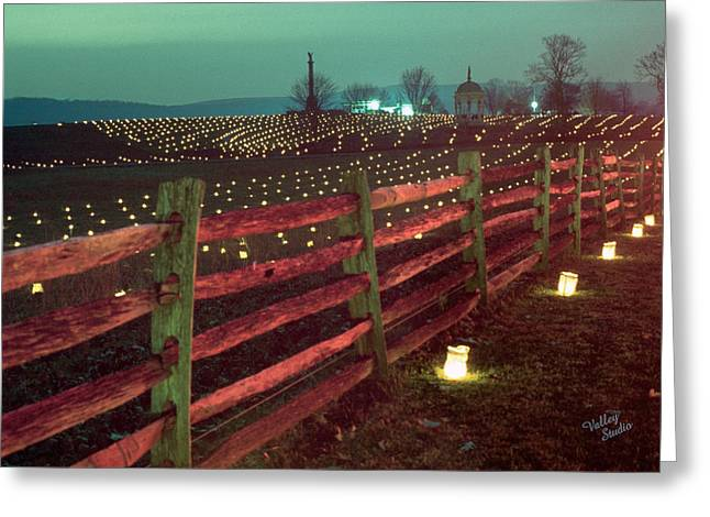 Antietam Greeting Cards - Fence and Luminaries 11 Greeting Card by Judi Quelland