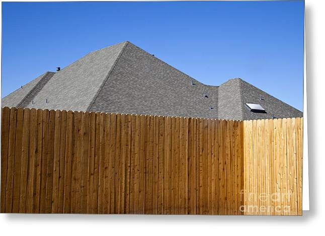 Fence And Roof Greeting Card by David Buffington