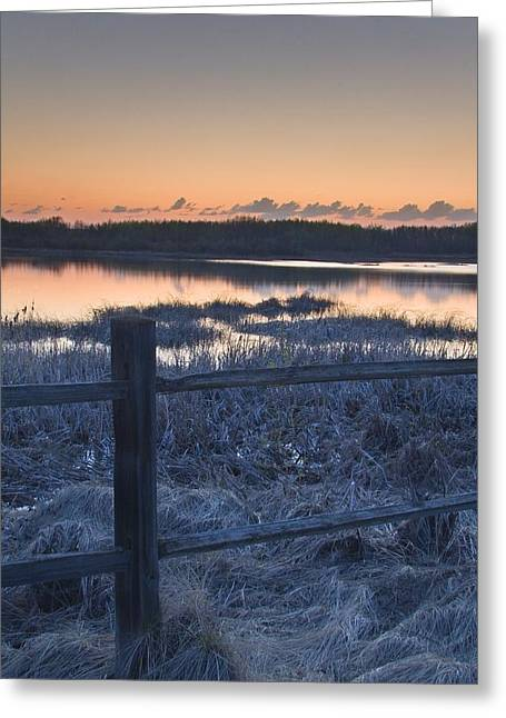 Canadian Prairies Greeting Cards - Fence By Lake At Sunset Greeting Card by Eryk Jaegermann