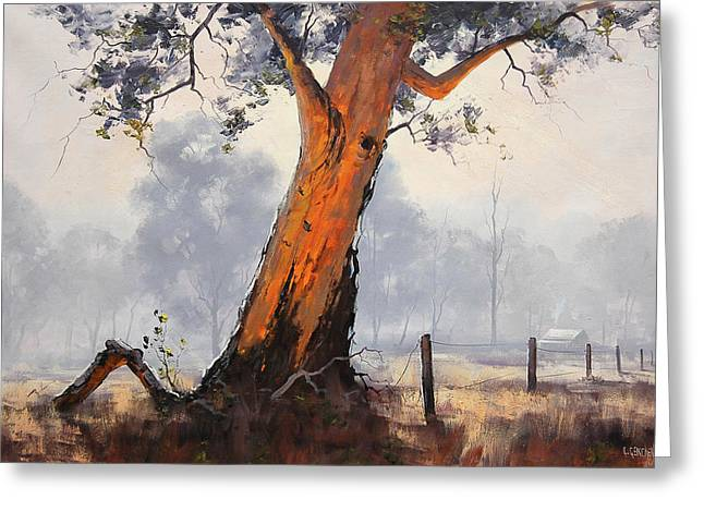 Gum-tree Greeting Cards - Fence Line Gum Greeting Card by Graham Gercken
