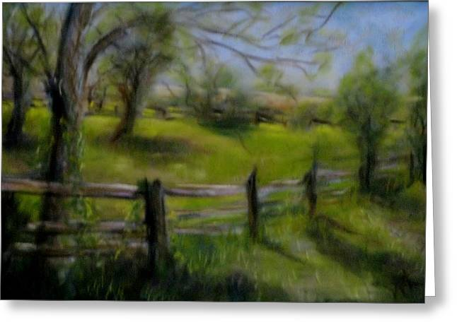 Fence Pastels Greeting Cards - Fence Line Greeting Card by Wendie Thompson