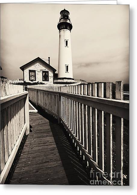 High And Low Greeting Cards - Fenced Path to the Lighthouse Greeting Card by George Oze