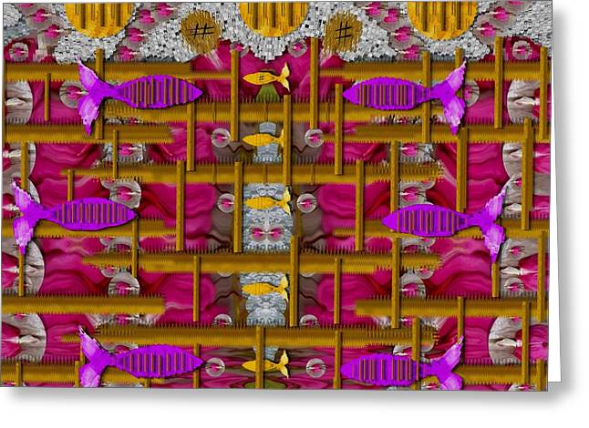 Goldfish Mixed Media Greeting Cards - Fences Around Love In Oriental Style Greeting Card by Pepita Selles