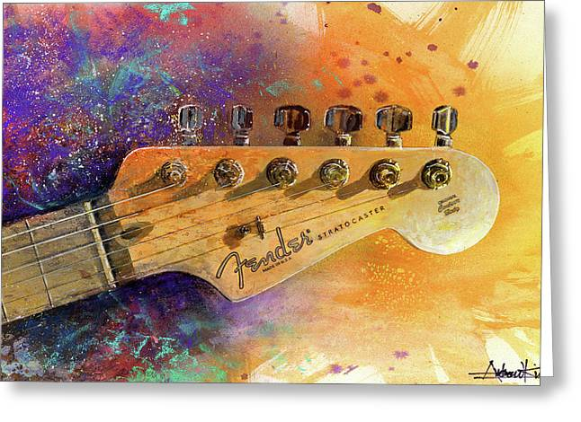 Instruments Greeting Cards - Fender Head Greeting Card by Andrew King