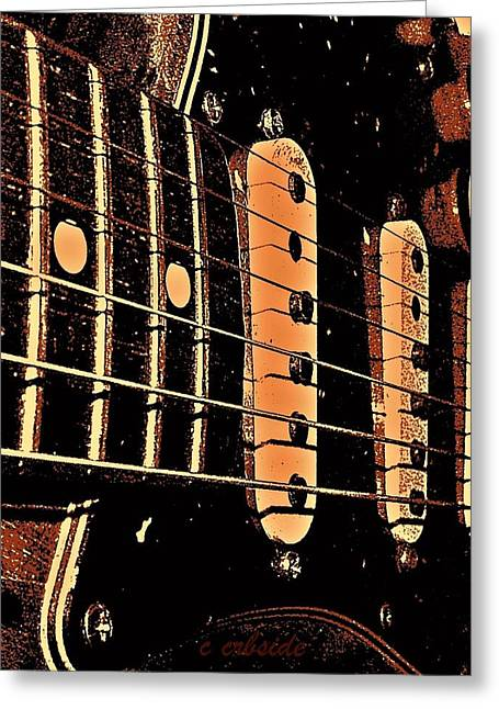 """six String"" Greeting Cards - Fender in Brown Greeting Card by Chris Berry"