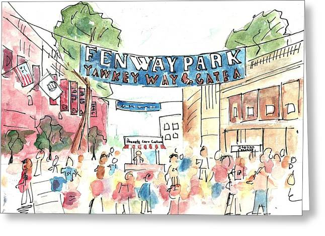 Red Sox Paintings Greeting Cards - Fenway Park Greeting Card by Matt Gaudian