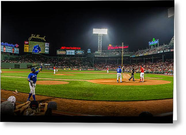 Boston Red Sox Greeting Cards - Fenway Park Panorma Greeting Card by Jeff Ortakales