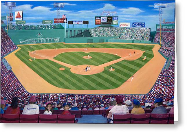 Red Sox Paintings Greeting Cards - Fenway Park Greeting Card by Richard Ramsey