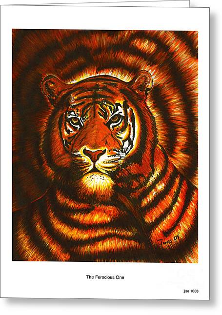 Wild Life Drawings Greeting Cards - Ferocious one jjse1003 Greeting Card by Jonas Jeque